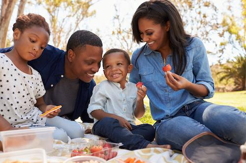Family of four having a picnic